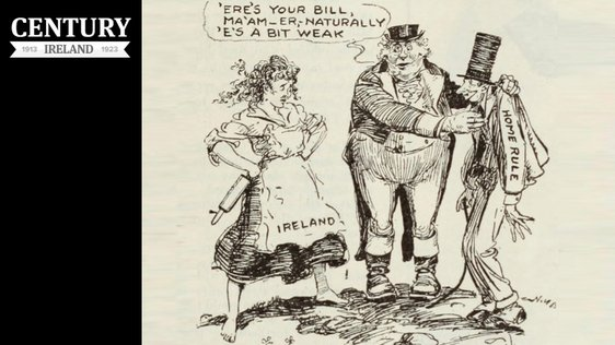 Century Ireland Issue 194 - Literary Digest, 8 January 1921 A cartoon showing a weak 'bill' being forced on an unwilling Ireland.