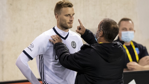 Philadelphia Union's Kacper Przybylko is evaluated for possible concussion during a MLS match against Montreal Impact in September