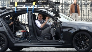Tom Cruise on Mission Impossible 7 set