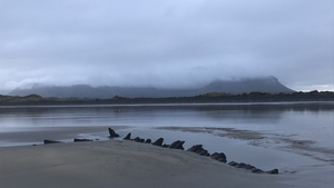 The remains of the wreck are revealed at low tide on Streedagh beach