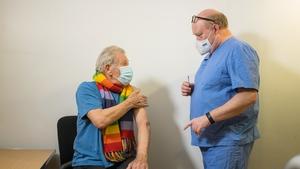 Ian McKellen gets vaccine at Queen Mary's University Hospital London