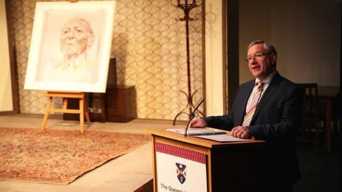 David Grant and, on left, the portrait of Brian Friel by Anthony Palliser