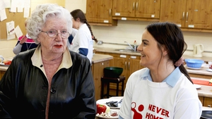 Imelda McHugh, one of the older participants from Moynalty, with Emma Gorman