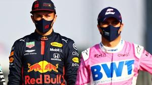 Alex Albon and Sergio Perez (r) at the end of the 2020 season