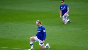 Ireland and Everton captain Seamus Coleman and Tom Davies (L)