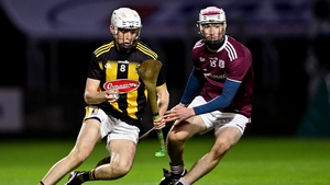 Cian Kenny of Kilkenny in action against Donal O'Shea of Galway