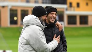 Nuno Espirito Santo and Raul Jimenez during the striker's training ground visit