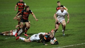 George Barton of Gloucester dives over to score the match-winning try