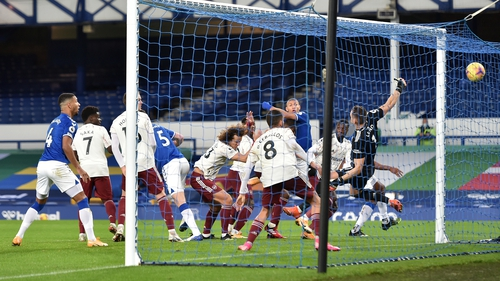 Yerry Mina of Everton scores what proves to be the winner