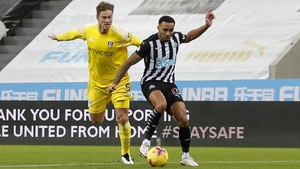 Fulham's Joachim Andersen was penalised for a foul on Callum Wilson