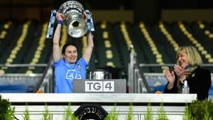 Dublin captain Sinéad Aherne hoists the Brendan Martin Cup aloft