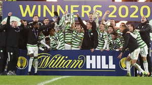 Celtic celebrate their Scottish Cup win at Hampden Park