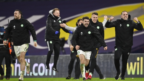 Shane Duffy (L) celebrates at the end of the Cup final shootout.