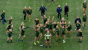 Meath players celebrate victory over neighbours Westmeath