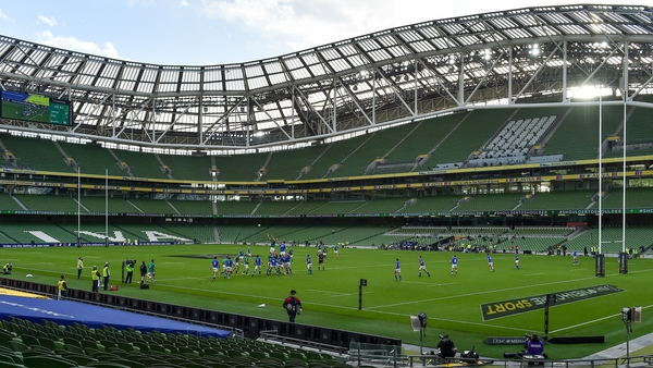 No crowds present for the Ireland-Italy Six Nations game