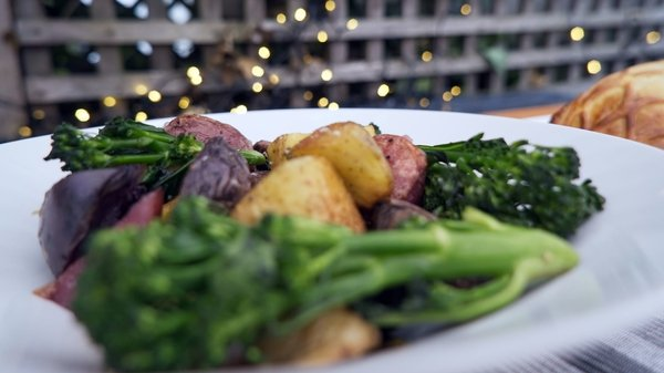 Catherine Fulvio's roasted potatoes with tenderstem broccoli and creamy tarragon dressing.