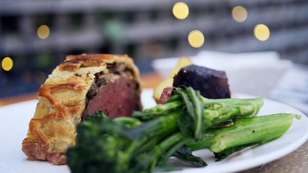 Catherine Fulvio's beef wellington with mushrooms & red onion gravy.