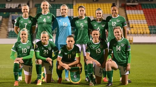 The Republic of Ireland team ahead of the game against Germany in Tallaght