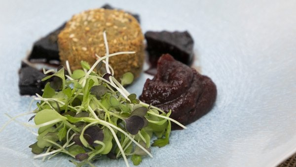 Neven's crispy goat's cheese with beetroot and fig & cranberry relish.