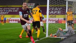 Ashley Barnes celebrates ending his long wait for a goal