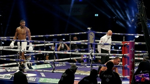 Anthony Joshua reacts to knocking down out Kubrat Pulev earlier this month