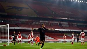 Gabriel Jesus celebrates his goal against Arsenal