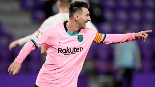Record breaker - Messi celebrates the historic goal