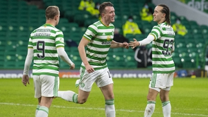 Celtic's David Turnbull celebrates his opener at Parkhead