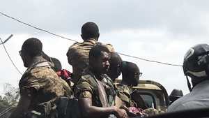 Ethiopian troops seen patrolling the streets of Addis Ababa (file image)