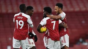 Pierre-Emerick Aubameyang celebrates scoring Arsenal's goal against Southampton with Bukayo Saka