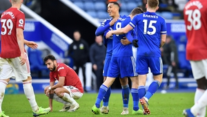 Jamie Vardy's deflected shot proved a late equaliser for Leicester