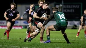 Nick Timoney beats John Porch to score Ulster's second try