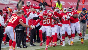 Kansas City Chiefs outside linebacker Willie Gay Jr (50) celebrates on the sidelines after a play during the second half against the Atlanta Falcons