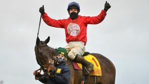 Darragh O'Keeffe celebrates after riding A Plus Tard to victory