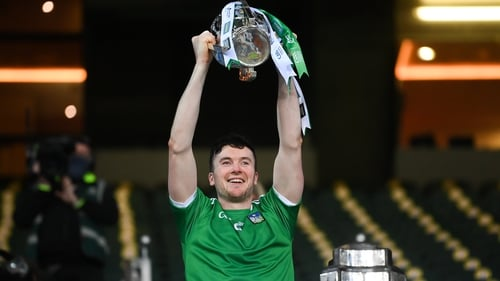 Limerick captain Declan Hannon lifts the Liam MacCarthy Cup