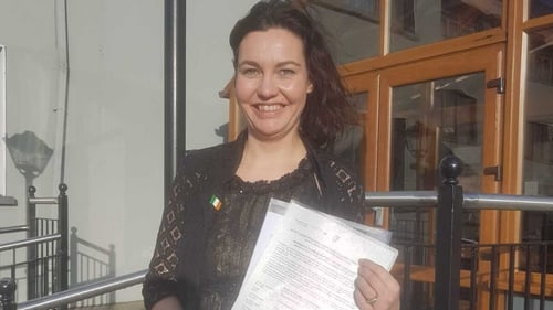 A delighted Eleanor in Kerry, having received her Irish citizenship
