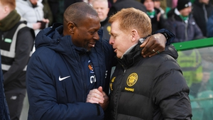 Kilmarnock manager Alex Dyer (left) with Neil Lennon in February