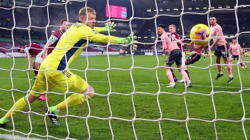 Ben Mee scores past Sheffield United's English goalkeeper Aaron Ramsdale