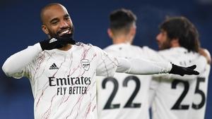 Alexandre Lacazette celebrates his goal