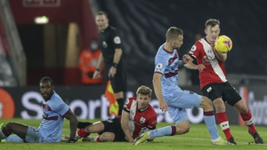 Tomas Soucek of West Ham United blocks off James Ward-Prowse