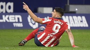 Suarez's header ensured a third consecutive league victory and took Atletico on to 35 points after 14 games, three ahead of second-placed Real Madrid