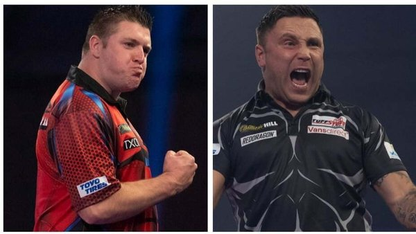 Daryl Gurney (l) takes on the Iceman Gerwyn Price
