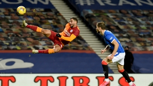 Omar Elabdellaoui of Galatasaray in action against Rangers in the Europa League
