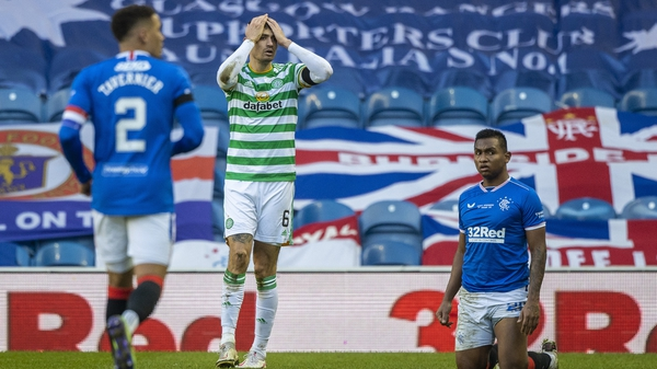 Rangers' Alfredo Morelos is brought down by Celtic's Nir Bitton who is sent off