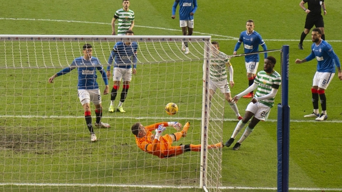 Odsonne Edouard sees his shot saved by Allan McGregor