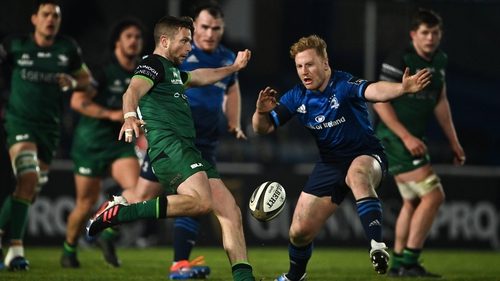 Jack Carty kicks during his team's win over Leinster