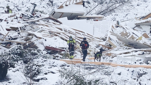 Rescue workers with a dog searching the landslide area in Ask, Norway today