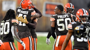 The Cleveland Browns celebrate the win that guaranteed them post-season football