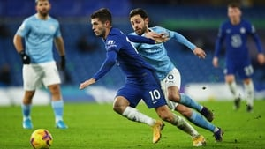 Christian Pulisic is pursued by Bernardo Silva during Manchester City's 3-1 win at Stamford Bridge