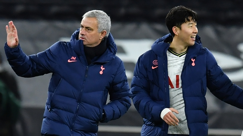 Mourinho and Son Heung-min who scored Spurs' second against Brentford